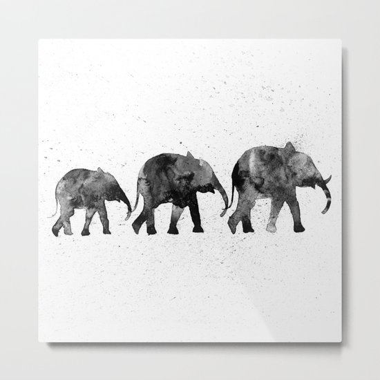 Elephants 2, black and white Metal Print