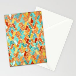 Tangerine & Turquoise Geometric Tile Pattern Stationery Cards