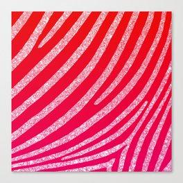 Hot Pink Red Ombre Glitter Zebra Stripe Canvas Print