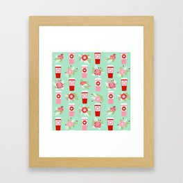Coffee valentines day gifts mint and pink floral bouquet flowers pattern print Framed Art Print