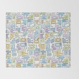 Pastel Tetris Monsters Throw Blanket