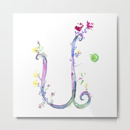 Letter U watercolor - Watercolor Monogram - Watercolor typography - Floral lettering Metal Print