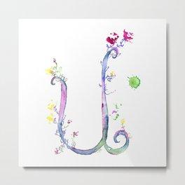 Letter U watercolor - Watercolor Monogram - Watercolor typography - Floral lettering Metal Print