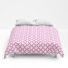 Hot Pink Quatrefoil Pattern Comforters