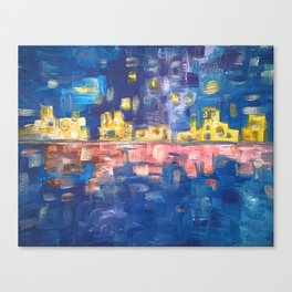 City lights in blue night | Colorful acrylic painting Canvas Print