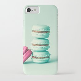 tower of mint macarons, macaroons, over green mint iPhone Case