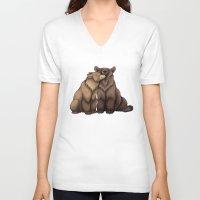 cuddle V-neck T-shirts featuring Bear Cuddle by Lyndsey Green Illustration