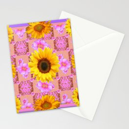 Lilac pink Patterns Sunflower Floral Art Stationery Cards