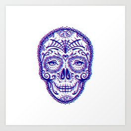 Sugar Skull (Calavera) Chromatic Aberration - Cyan Magenta Art Print