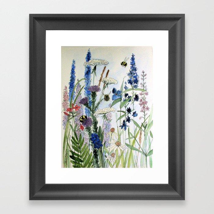 Wildflower in Garden Watercolor Flower Illustration Painting Gerahmter Kunstdruck