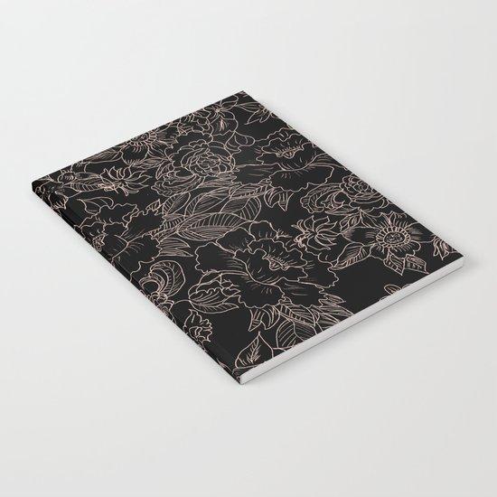 Pink coral tan black floral illustration pattern Notebook