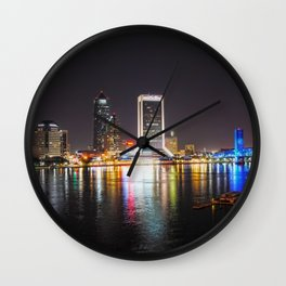 Jacksonville Night Skyline Wall Clock