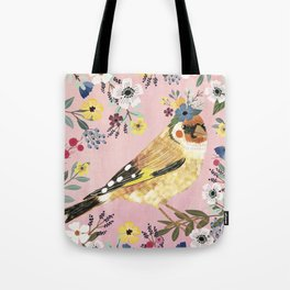 Goldfinch bird with floral crown Tote Bag