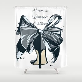 Fashion illustration with high heel shoe and bow. I am limited edition Shower Curtain