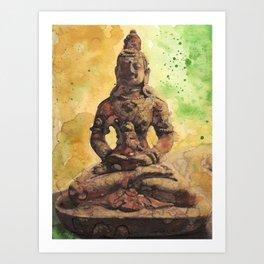 Quiet Meditation Original Watercolor Painting Abstract Art Zen Painting Art Print