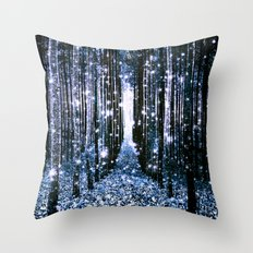 Magical Forest Dark Blue Elegance Throw Pillow