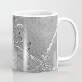 Large Black  Ink Chrysanthemum Coffee Mug