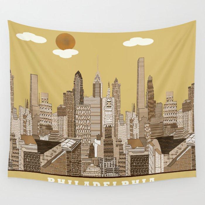 Philadelphia skyline vintage Wall Tapestry by bribuckley   Society6