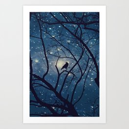 Moon light Crow Art Print