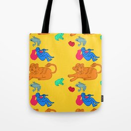 Boy Blue on Yellow Background Tote Bag