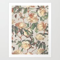 bedding Art Prints featuring Soft Vintage Rose Pattern by micklyn