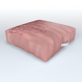 Dripping in Rose Gold Glitter Outdoor Floor Cushion