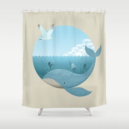 Whale & Seagull (US and THEM) Shower Curtain
