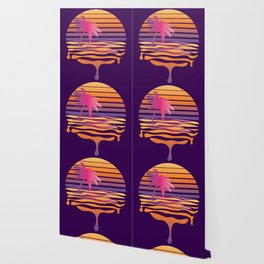Retro striped sun and palm Wallpaper