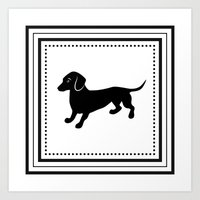 dachshund Art Prints featuring Dachshund by Antique Images