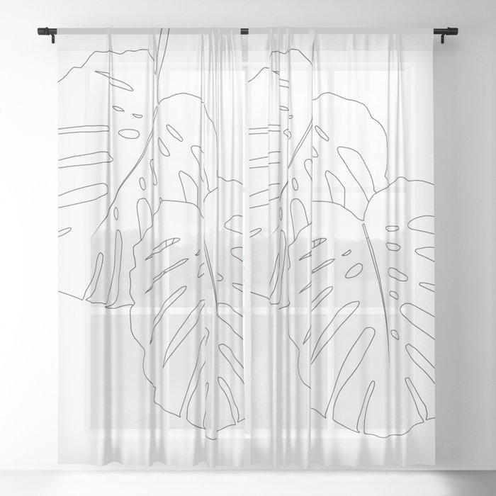 Monstera Leaves Finesse Line Art #1 #minimal #decor #art #society6 Sheer Curtain