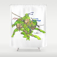 ninja turtles Shower Curtains featuring Ninja Turtles Unite by theMAINsketch