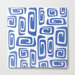 Mid Century Modern Cosmic Abstract 613 Blue Metal Print