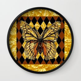 ABSTRACTED BROWN & GOLD MONARCH BUTTERFLY Wall Clock