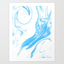 Suminagashi 2 blue and white marble spilled ink ocean swirl watercolor painting Art Print