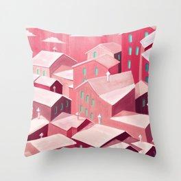 Pink city Throw Pillow