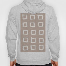 Square Stroke Dots White on Nude Hoody