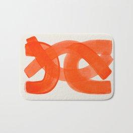 Mid Century Modern Abstract Painting Orange Watercolor Brush Strokes Bath Mat
