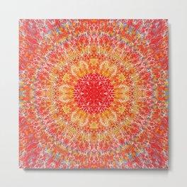 Flaming Star Mandala Metal Print