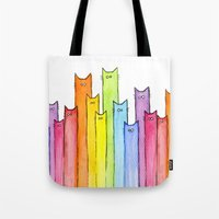 Tote Bags featuring Cat Rainbow Watercolor Pattern by Olechka