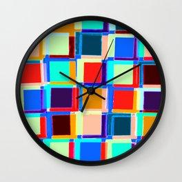 Colored Squares Geometric #geometric #buyart Wall Clock