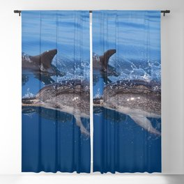Mother and baby spotted dolphin Blackout Curtain