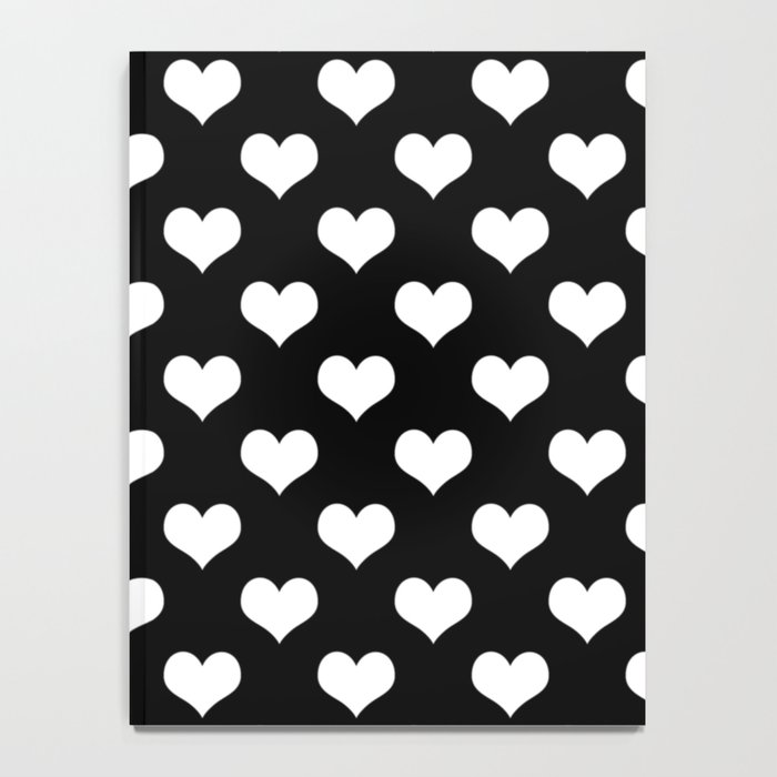 Black White Hearts Notebook