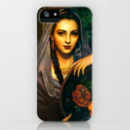 Jesus Helguera Painting of a Calendar Girl with Dark Shawl iPhone Case