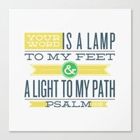 bible verses Canvas Prints featuring Psalm 119:105 Bible Verses by Tony D'Amico