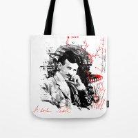 tesla Tote Bags featuring Nikola Tesla by viva la revolucion