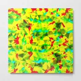 psychedelic geometric triangle abstract pattern in green yellow blue red Metal Print