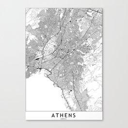 Athens White Map Canvas Print