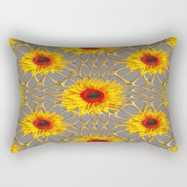 Dove Grey Design Yellow-Red Sunflowers Gold Lace Art Rectangular Pillow