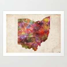 Ohio map landscape Art Print