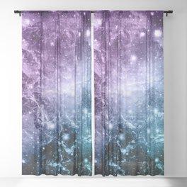 Purple Teal Galaxy Nebula Dream #4 #decor #art #society6 Sheer Curtain